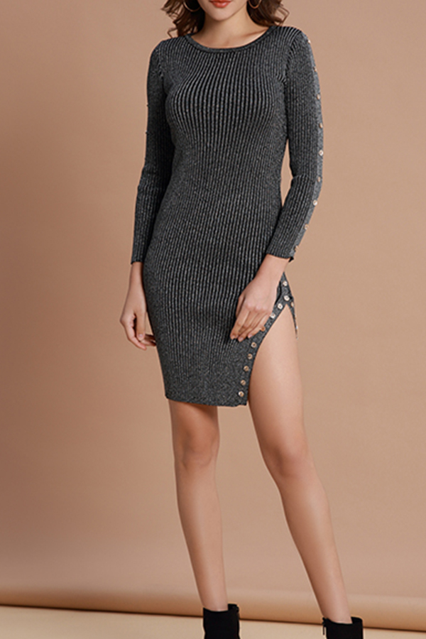 Lovely Vintage Slit Deep Grey Knitting Mini Dress