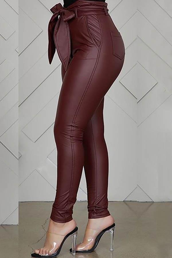 Lovely Trendy Drawstring Wine Red Pants