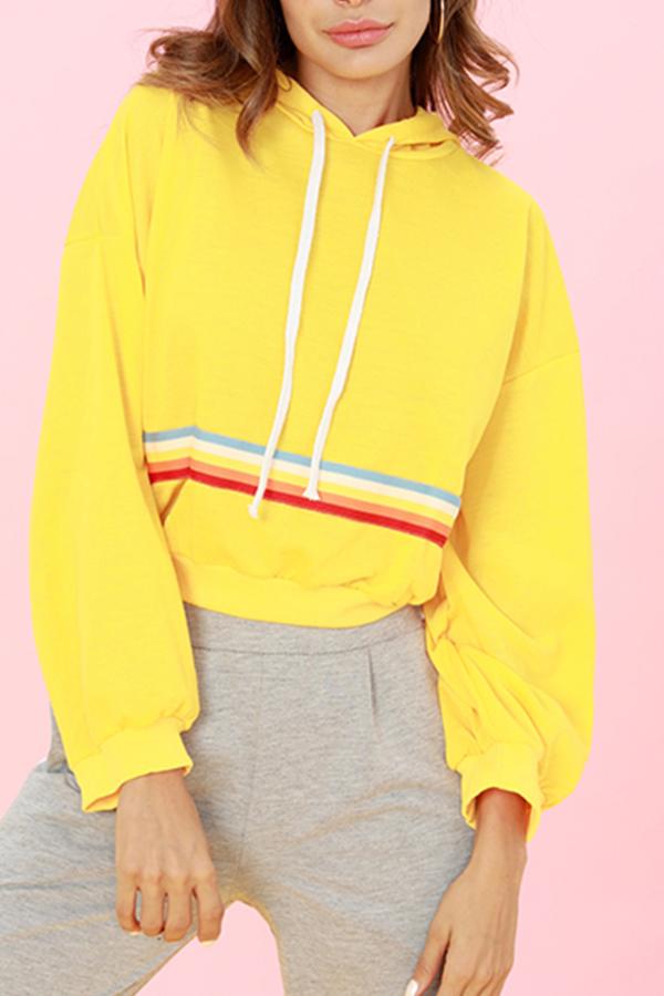 Lovely Casual Long Sleeves Webbing Yellow Hoodies
