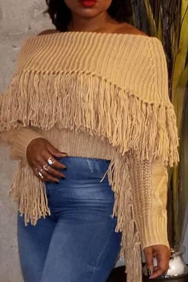 Lovely Casual Tassel Design Brown Sweater