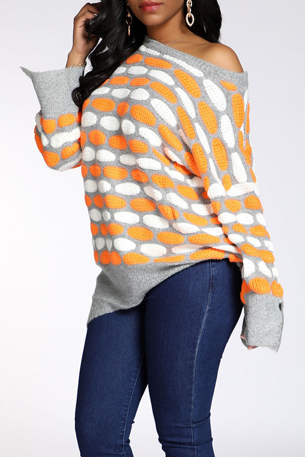 Lovely Casual Dot Printed Grey Sweater