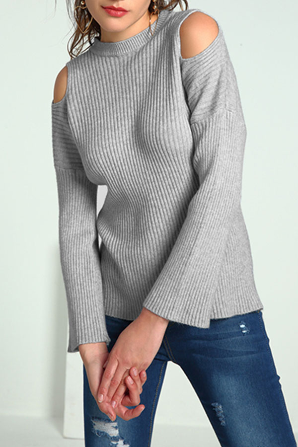 Lovely Casual Dew Shoulder Grey Knitting Sweaters