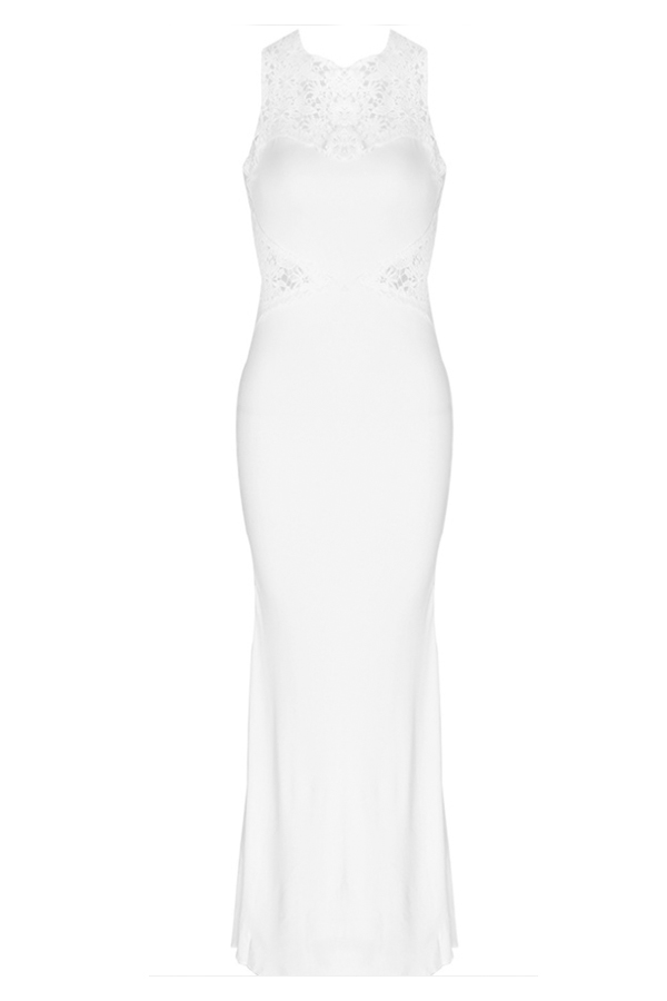 Lovely Party Hollow-out White Trailing Evening Dress