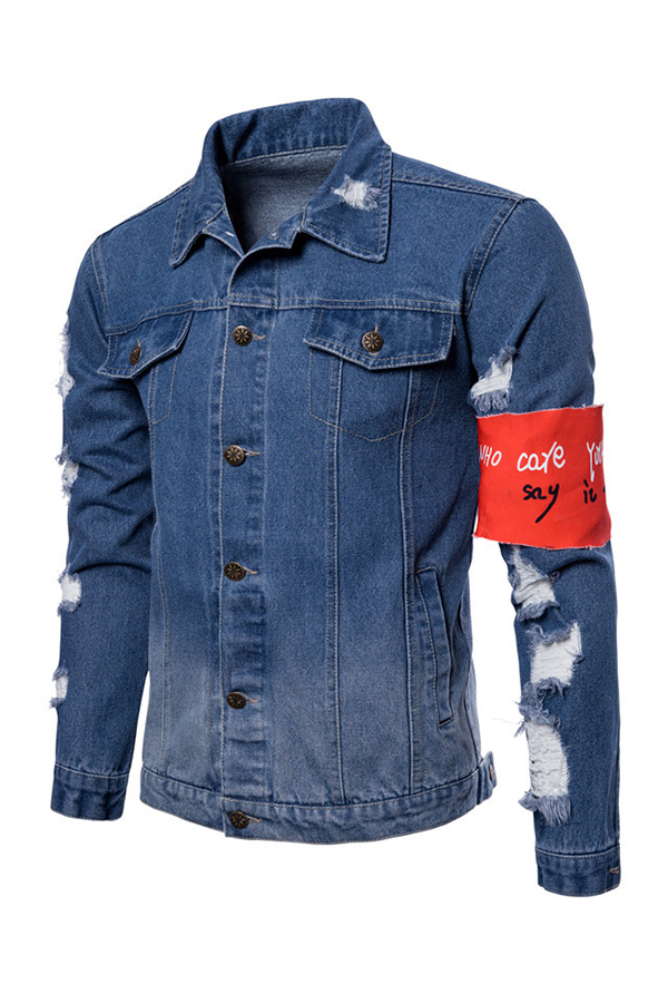 Lovely Casual Patchwork Baby Blue Jacket