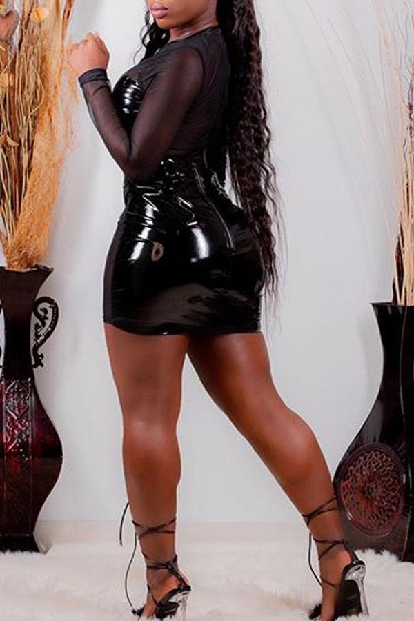 Lovely Sexy See-through Black Mini Dress