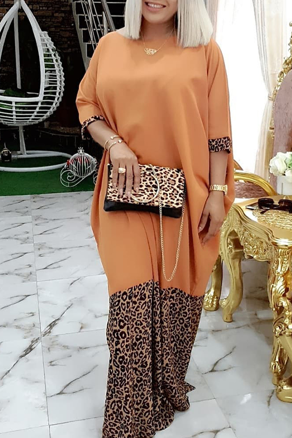 Lovely Casual Patchwork Leopard Printed Floor Length Plus Size Dress