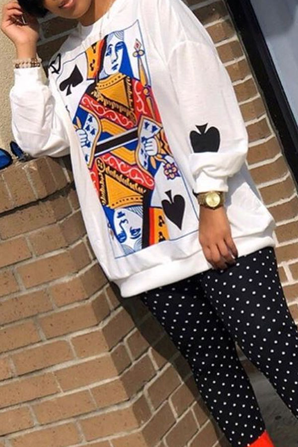 Lovely Casual O Neck Printed White Sweatshirt Hoodie