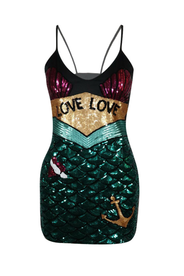 Lovely Party Patchwork Green Mini Dress