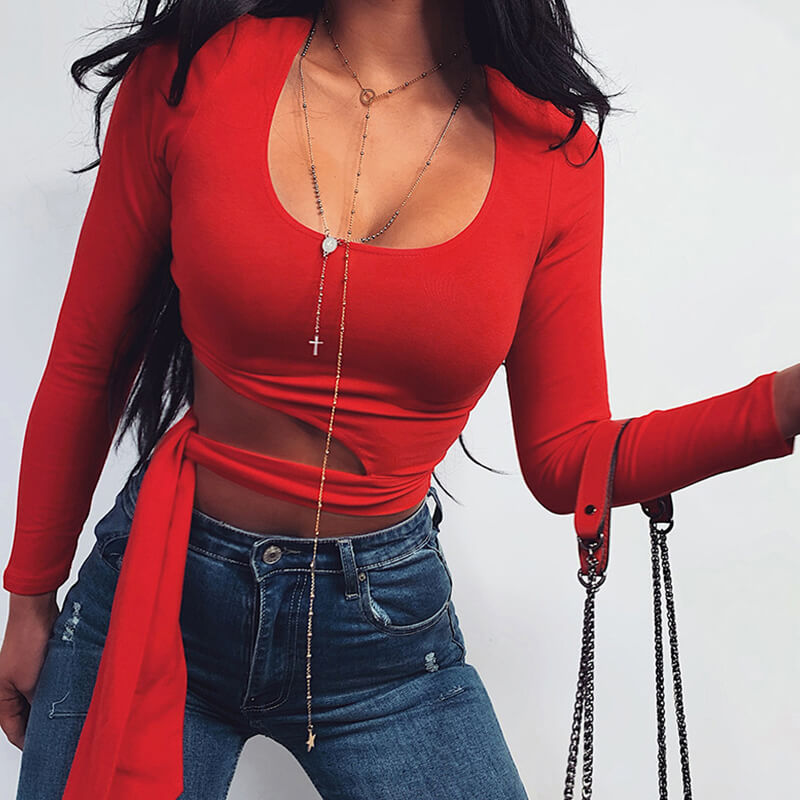 Lovely Casual O Neck Lace-up Red T-shirt