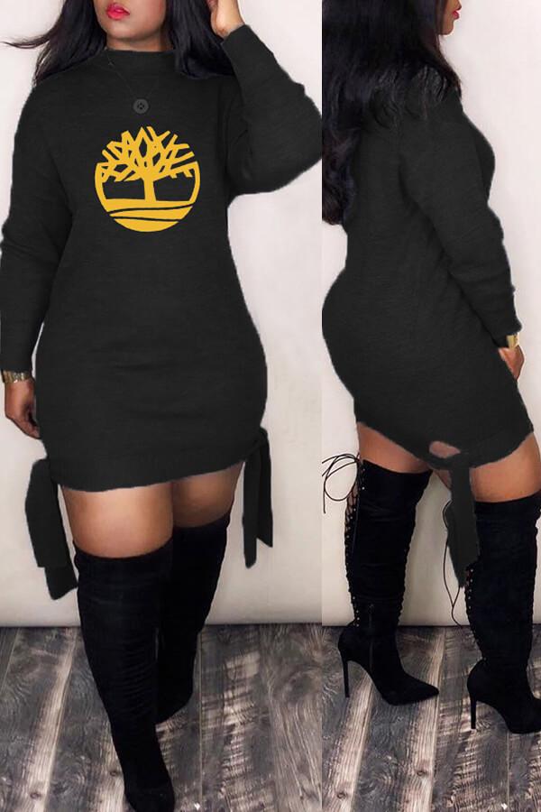 Lovely Trendy Printed Black Mini Dress