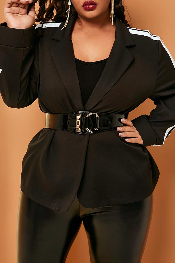 Lovely Casual Striped Patchwork Black Plus Size Blazer(Without Belt)