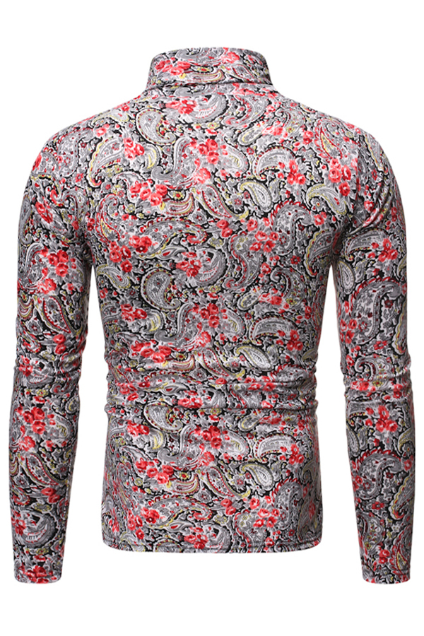 Lovely Casual Turtleneck Multicolor T-shirt