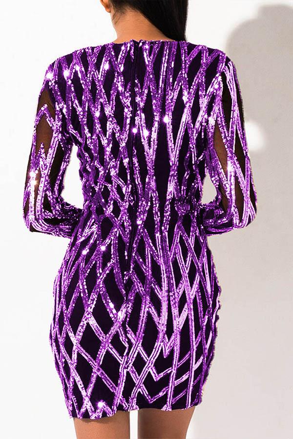 Lovely Party V Neck Patchwork Purple Mini Dress
