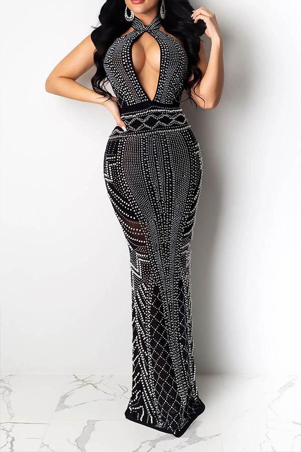 Lovely Party Halter Hot Drilling Decorative Black Floor Length Prom Dress