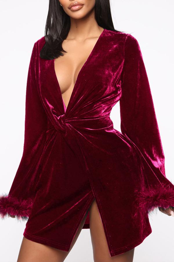 Lovely Chic Deep V Neck Wine Red Mini Dress
