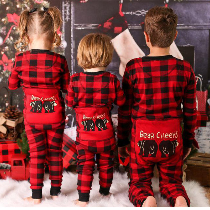 Lovely Family Plaid Printed Red And Black Baby One-piece Jumpsuit
