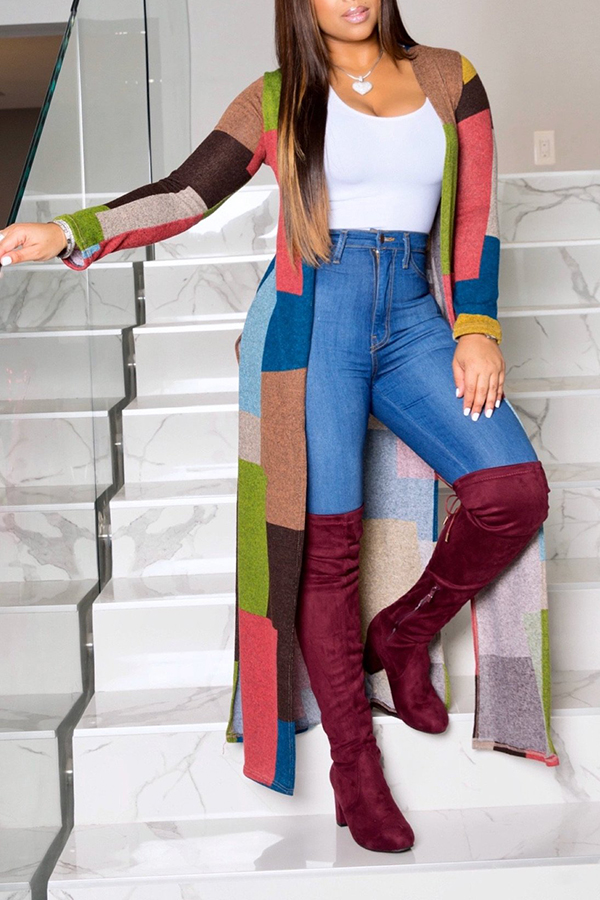 Lovely Casual Color-lump Patchwork Coat