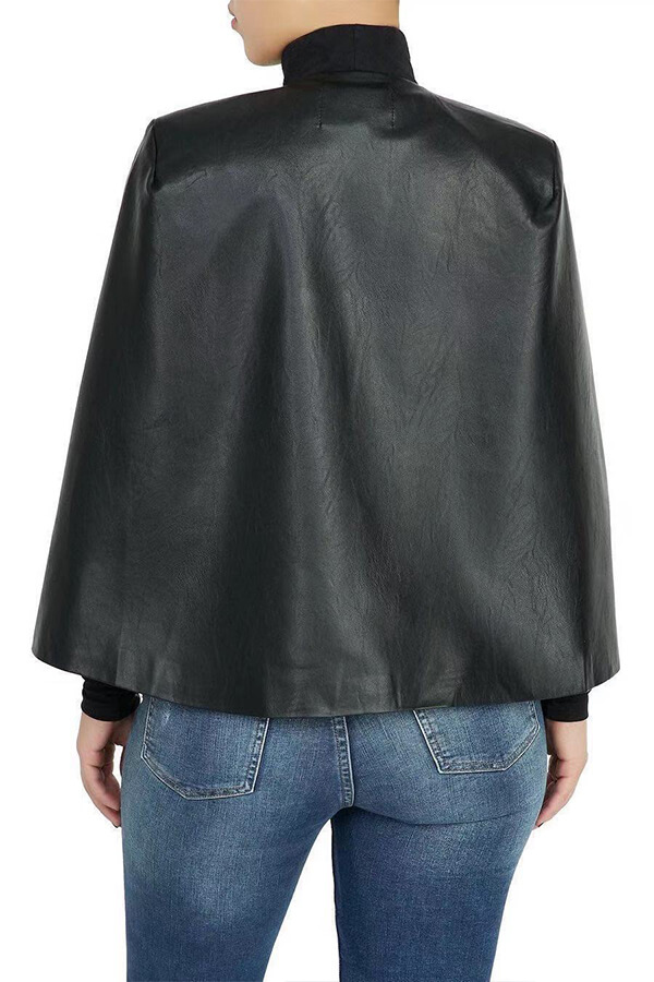 Lovely Leisure Cloak Design Black Coat
