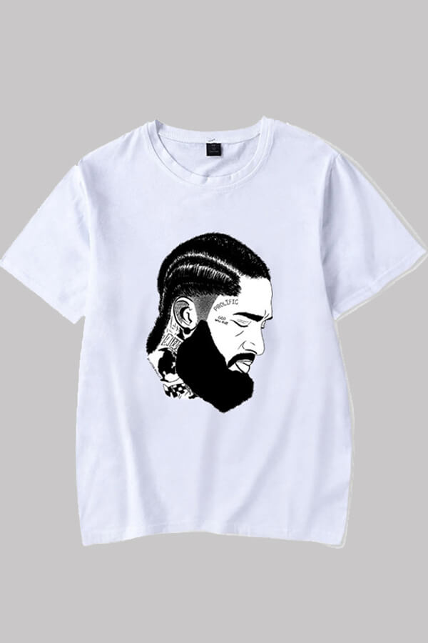 Lovely Casual Figure Printed White T-shirt