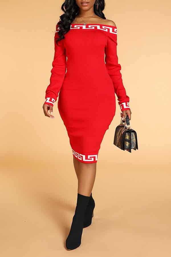 lovelywholesale / Cheap Daily Dress Lovely Casual Dew Shoulder Print Red Knee Length Dress