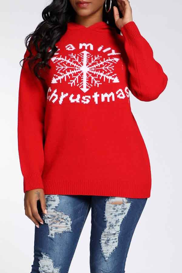 Lovely Christmas Day Hooded Collar Letter Red Sweater