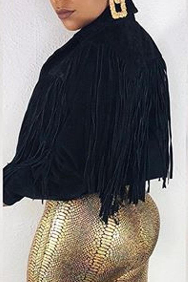 Lovely Casual Tassel Design Black Coat
