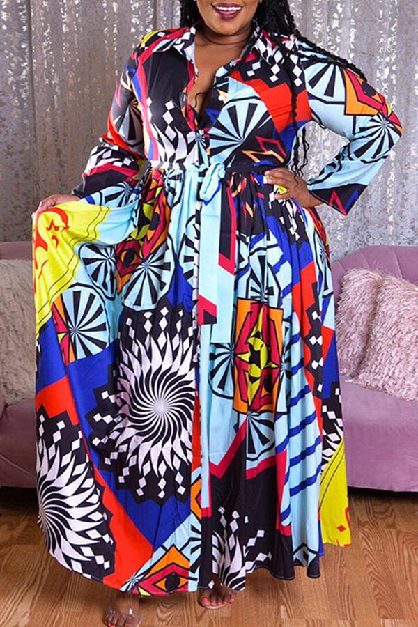 lovelywholesale / Lovely Casual Print Blue Plus Size Maxi Dress