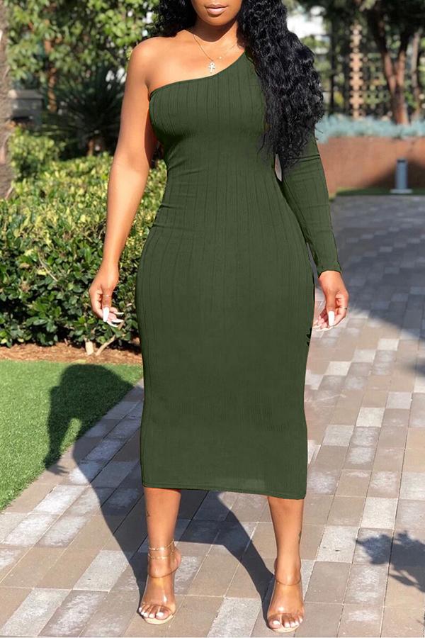 Lovely Trendy One Shoulder Green Mid Calf Dress