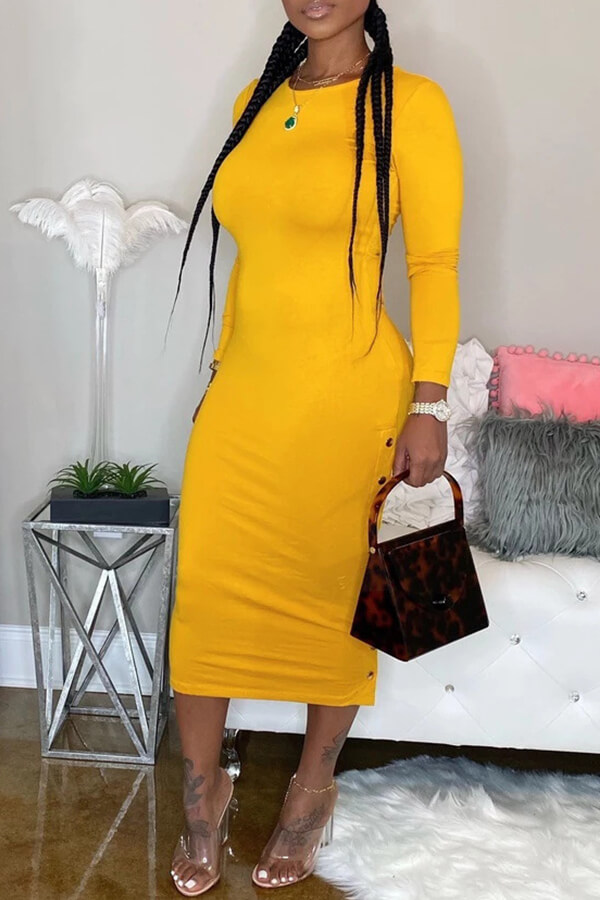 Lovely Casual O Neck Skinny Yellow Mid Calf Dress