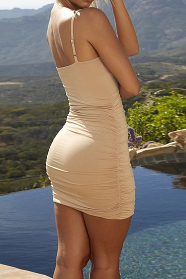 Lovely Leisure Sleeveless Skinny Khaki Mini Dress