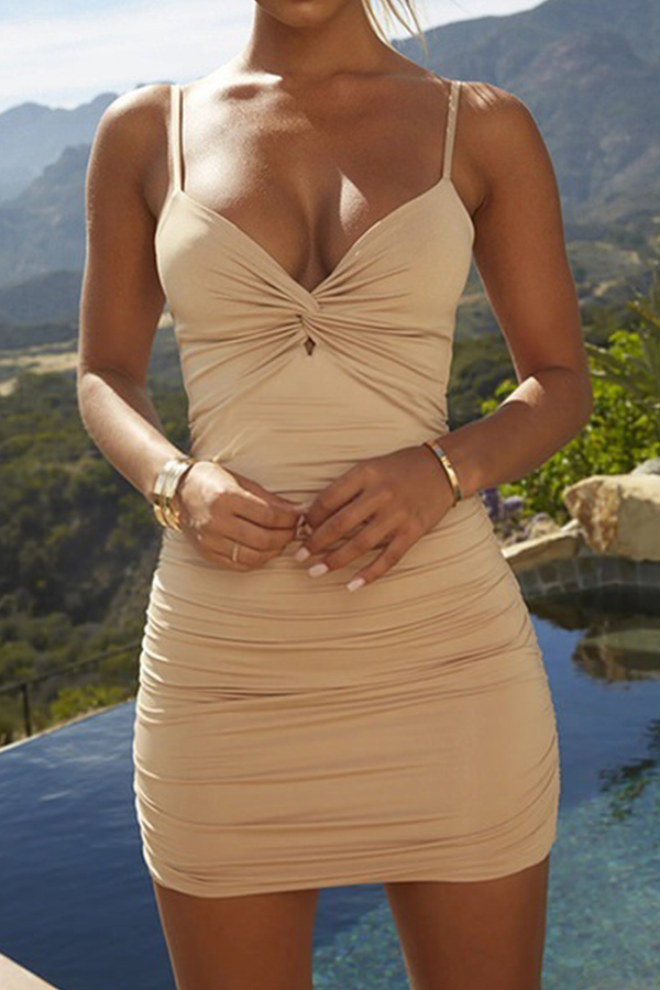 Lovely Leisure Sleeveless Skinny Khaki Mini Dress