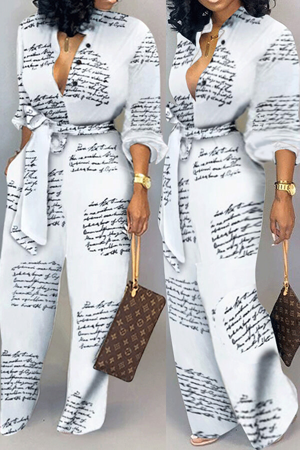 Lovely Casual Letter Printed White One-piece Jumpsuit