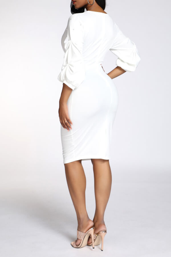 Lovely Work V Neck Skinny White Knee Length OL Dress