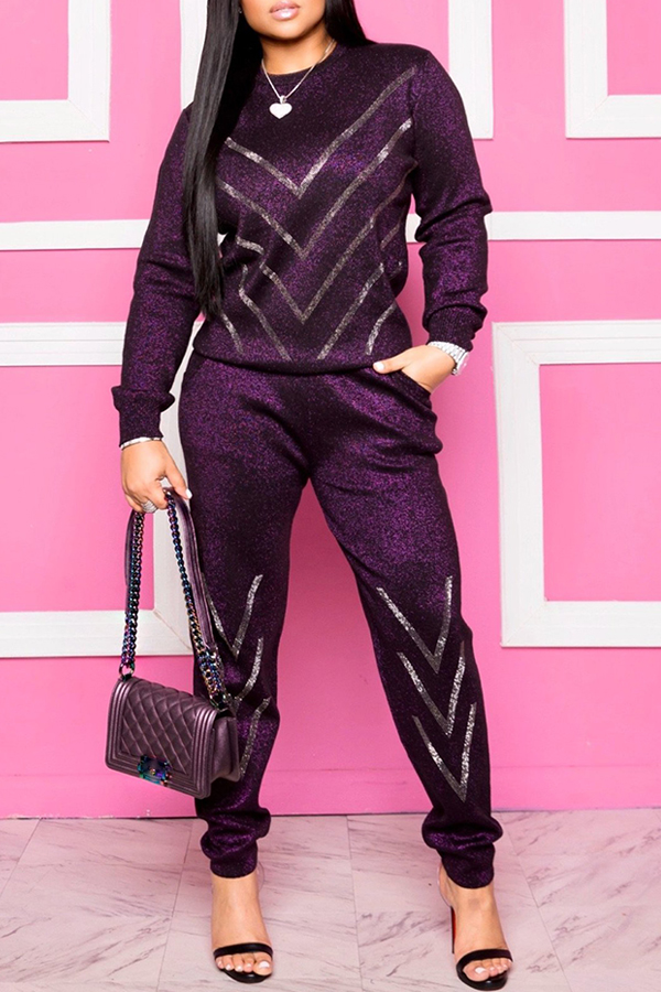 Lovely Casual O Neck Striped Purple Two-piece Pants Set