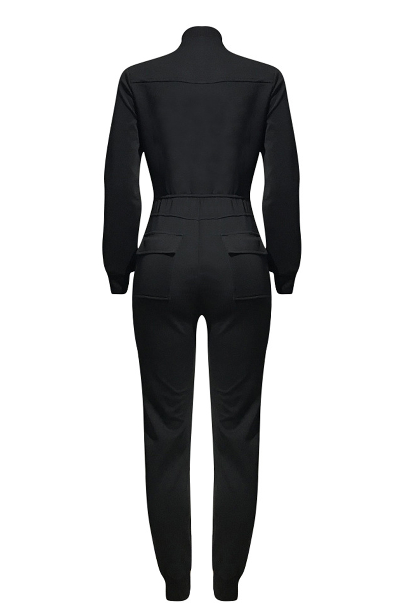 Lovely Casual Eye Print Black One-piece Jumpsuit
