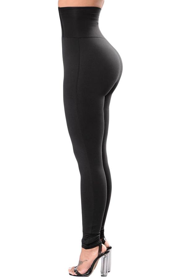 Lovely Leisure Buttons Black Leggings