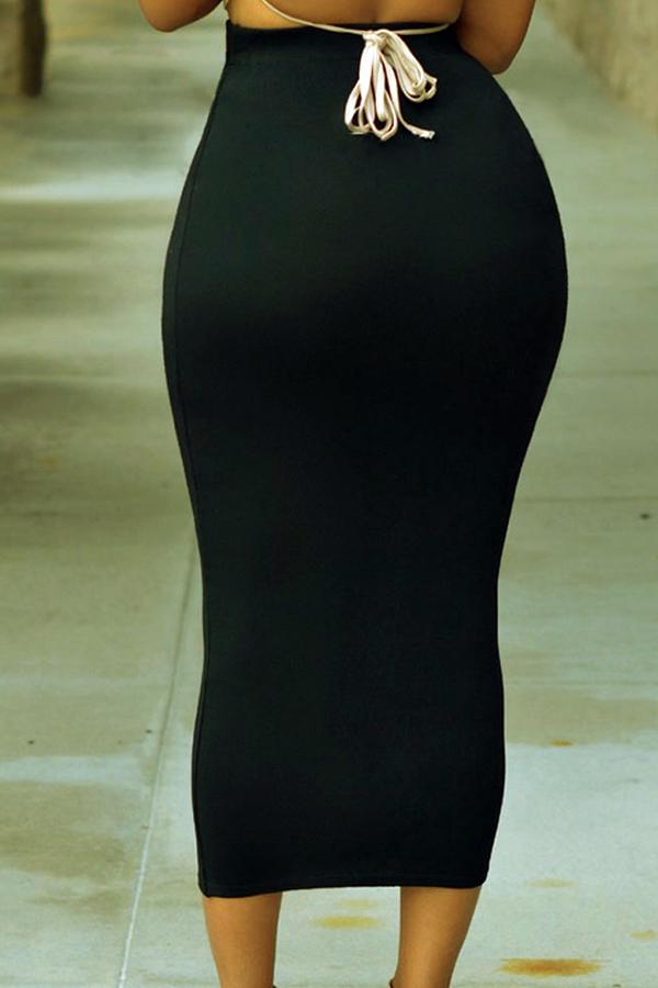 Lovely Casual Basic Skinny Black Mid Calf Skirt