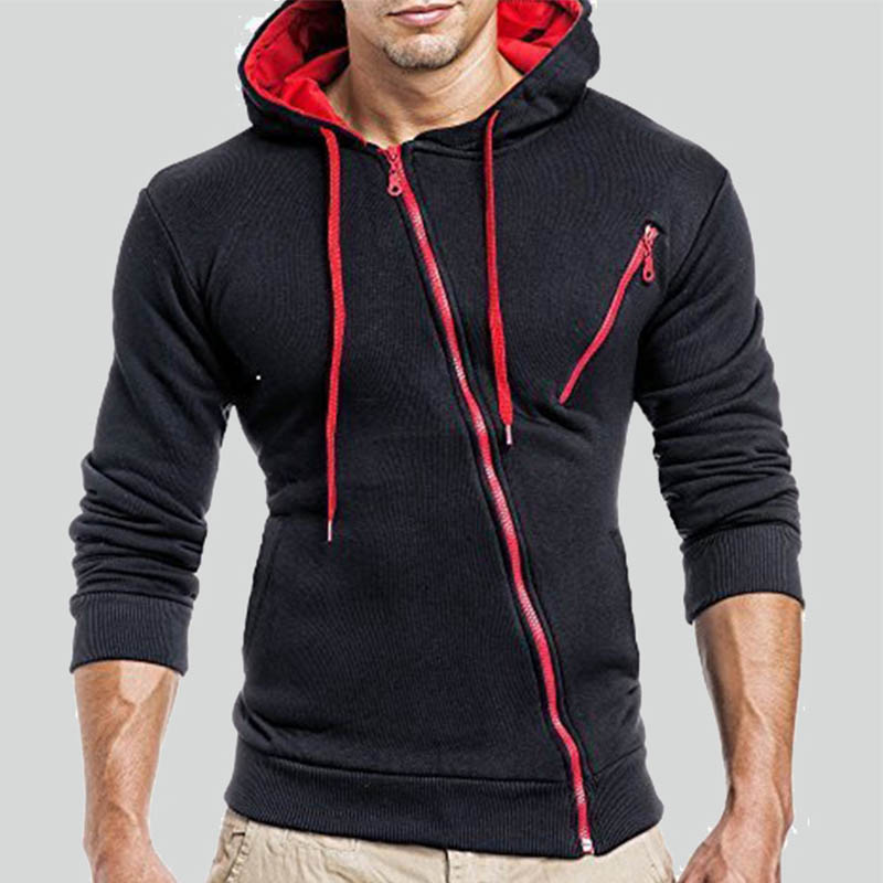 Lovely Leisure Patchwork Zipper Design Black Hoodie