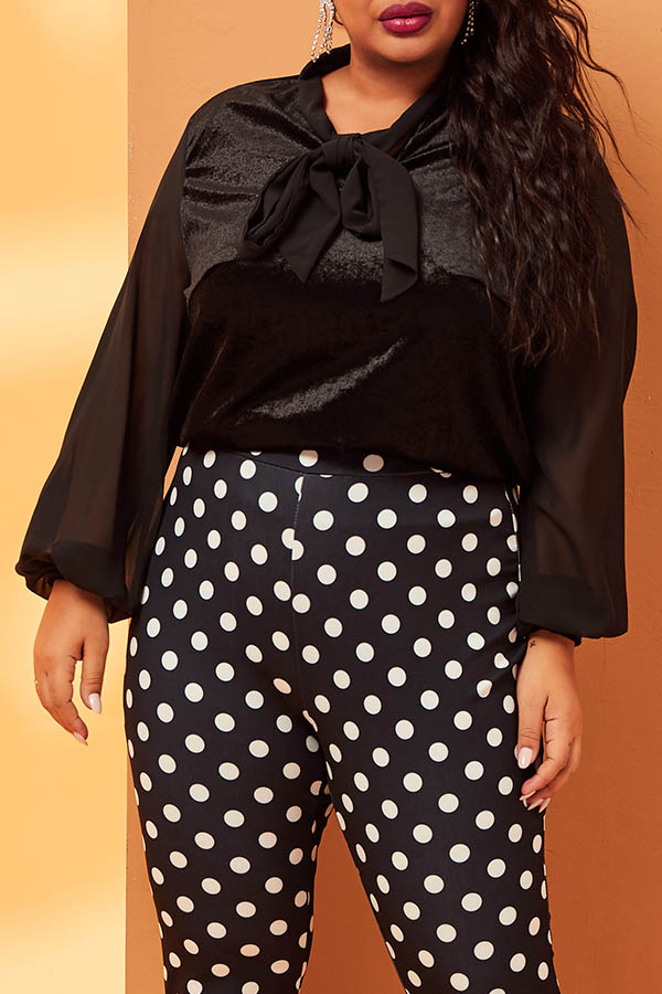 Lovely Casual Bow-Tie Black Plus Size Blouse