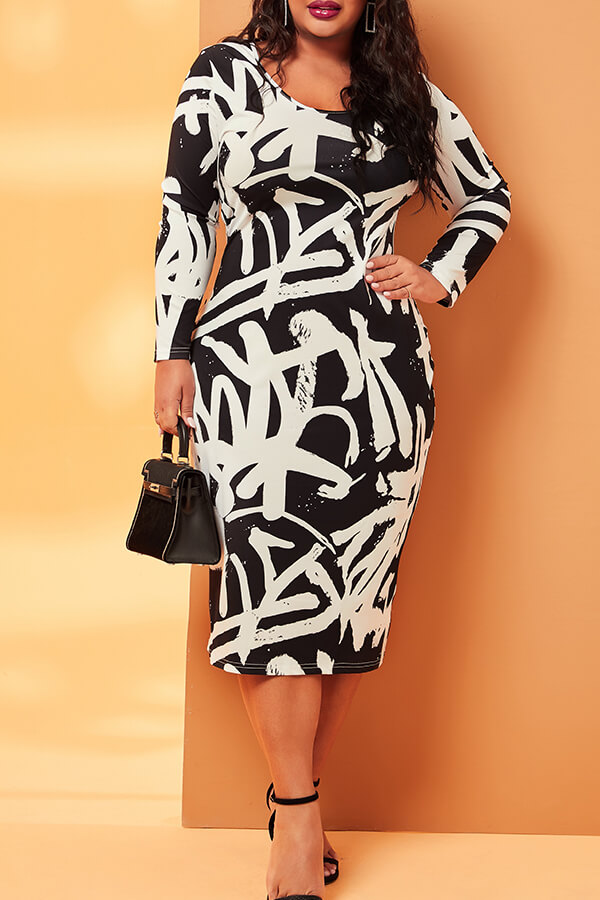 Lovely Casual V Neck Printed Black Mid Calf Plus Size Dress