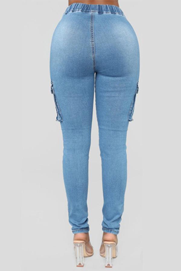 Lovely Chic Drawstring Pocket Blue Jeans