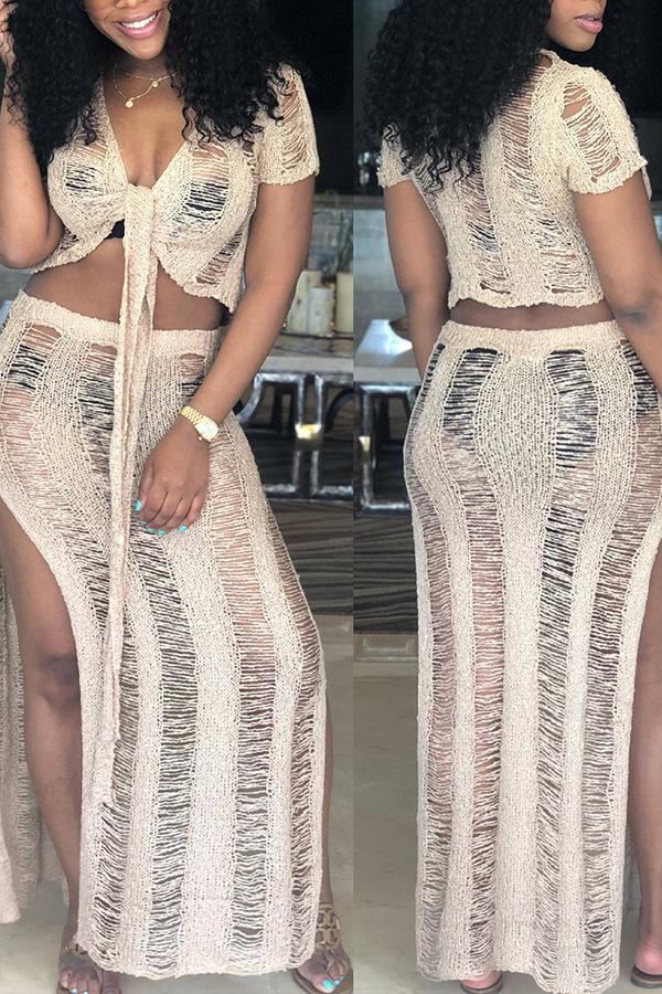 Lovely Knot Design Hollow-out White Beach Skirt Set