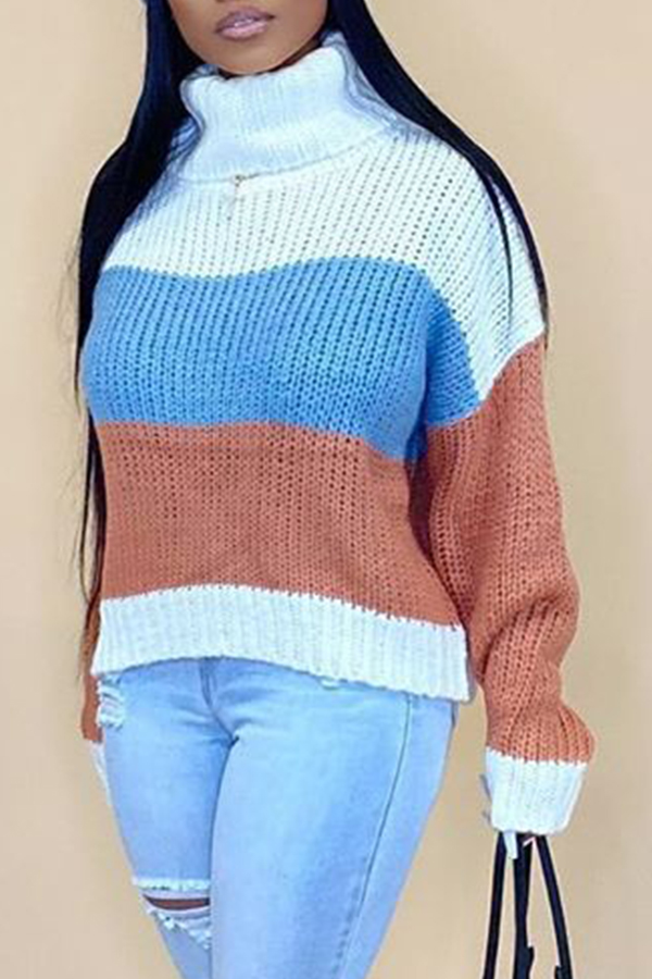 Lovely Casual Turtleneck Striped Light Coffee Sweater