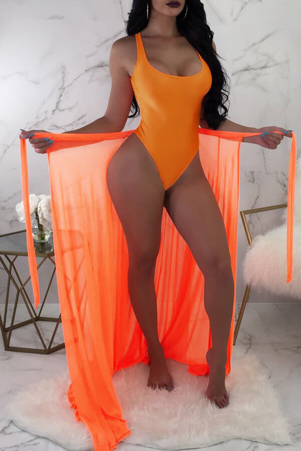 Lovely V Neck Skinny Jacinth One-piece Swimwear(With Cover-up)