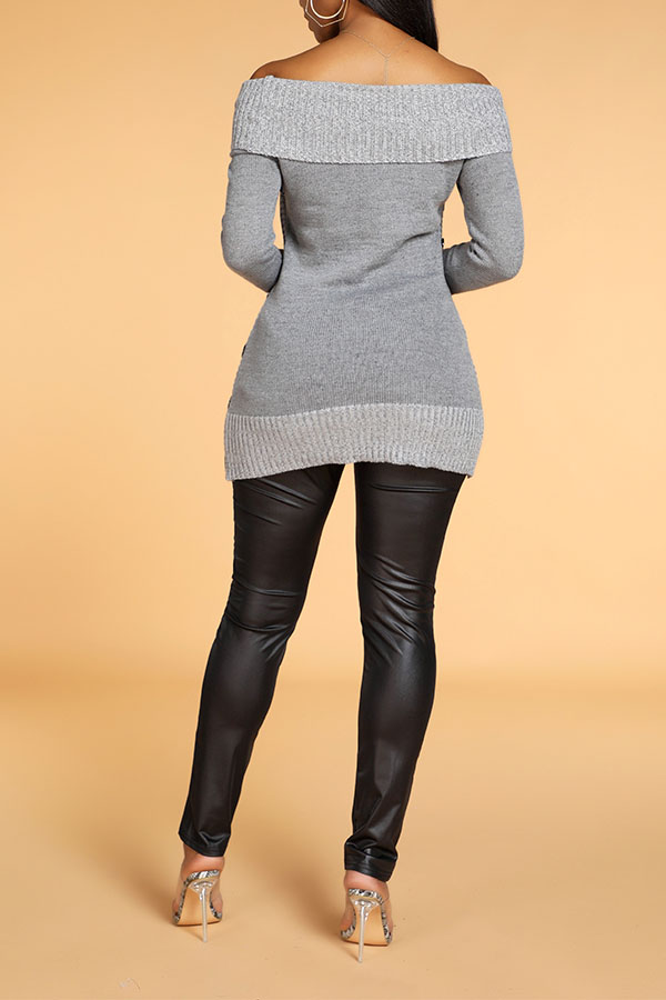 Lovely Chic Patchwork Grey Sweater