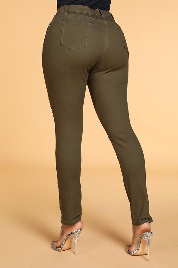 Lovely Casual Zipper Design Green Pants