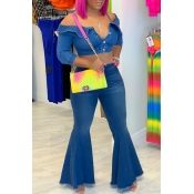 Lovely Sweet Buttons Design Blue Two-piece Pants S