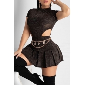 Lovely Sweet Hollow-out Black Two-piece Skirt Set