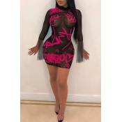 Lovely Sexy See-through Printed Rose Red Mini Dres
