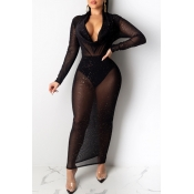 Lovely Sexy See-through Black Ankle Length Dress(W